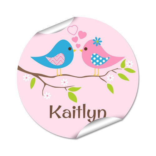 Two Birds 48pk Labels - Round