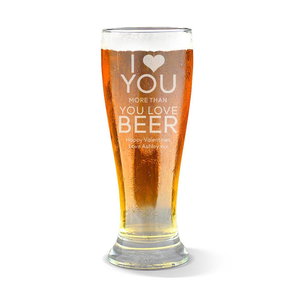 Love You Premium 285ml Beer Glass