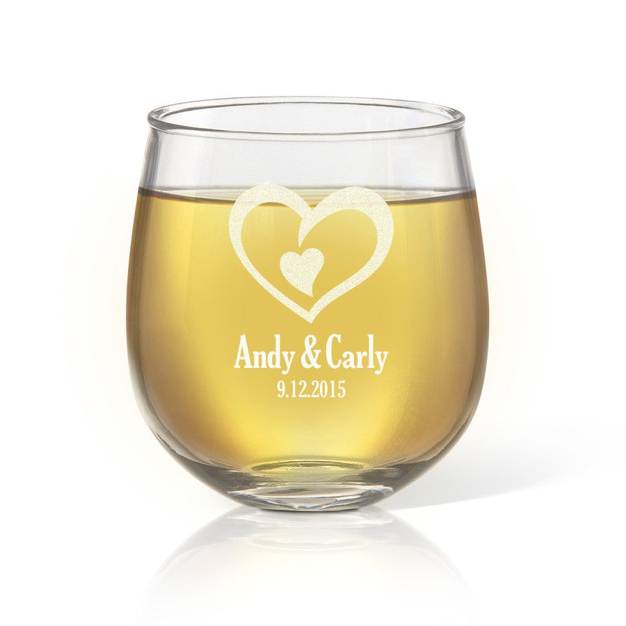 Heart Stemless Wine Glass