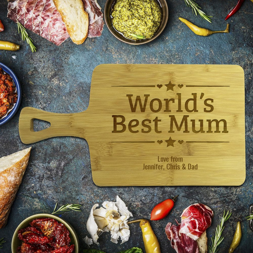 World's Best Mum Rectangle Bamboo Serving Board