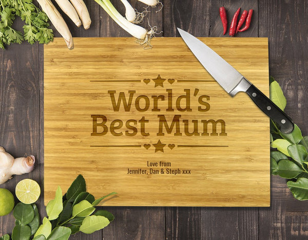 "World's Best Mum Bamboo Cutting Board 8x11"" (Temporary Out of Stock)"