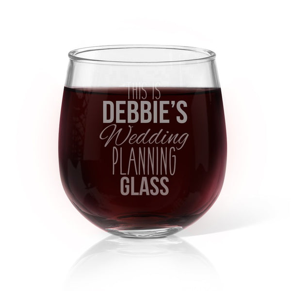 Wedding Planning Stemless Wine Glass