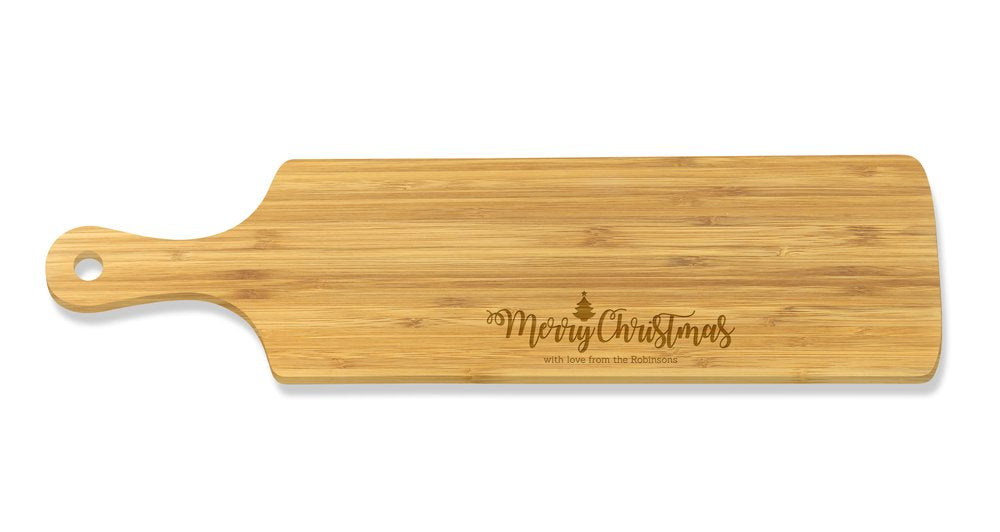 Merry Christmas Long Bamboo Serving Board