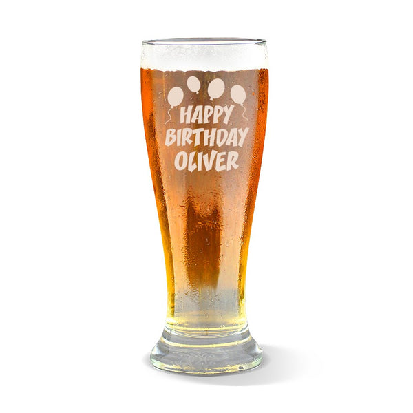 Happy Birthday Premium 285ml Beer Glass