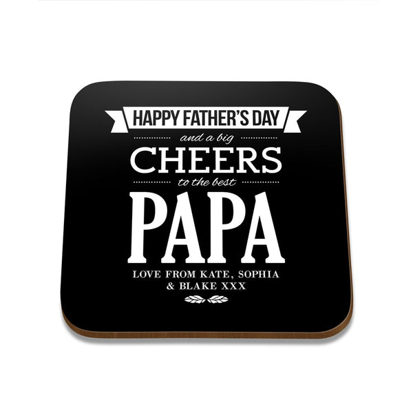 Happy Father's Day Square Coaster - Single