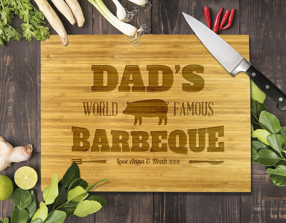 "Dad's Famous Barbeque Bamboo Cutting Board 8x11"" (Temporary Out of Stock)"