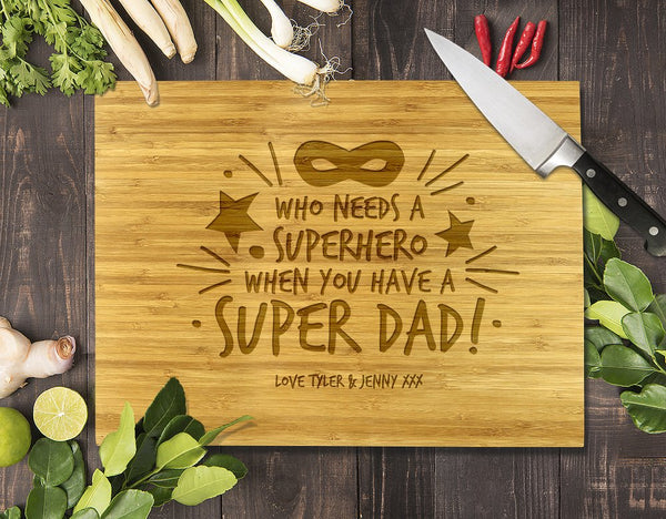 Super Dad Bamboo Cutting Board 8x11""