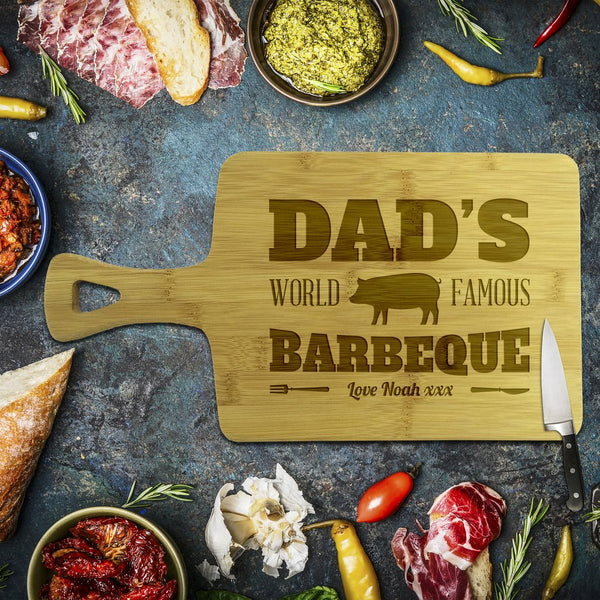 Dad's Famous Barbeque Rectangle Bamboo Serving Board