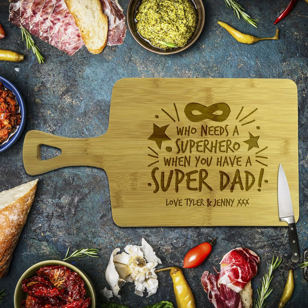 Super Dad Rectangle Bamboo Serving Board