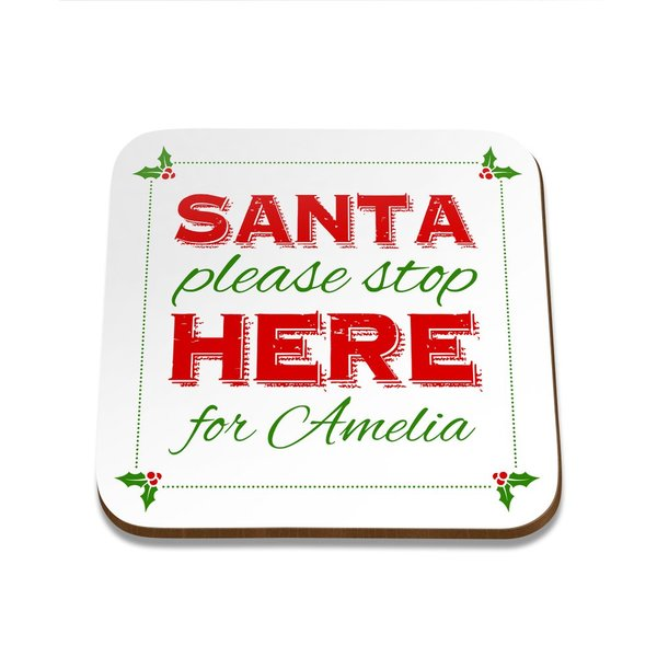 Santa Stop Square Coaster - Set of 4