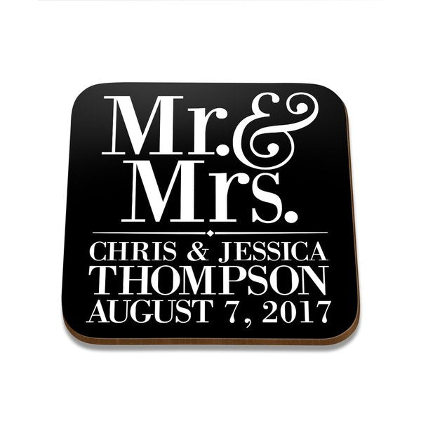 Mr & Mrs Square Coaster - Single