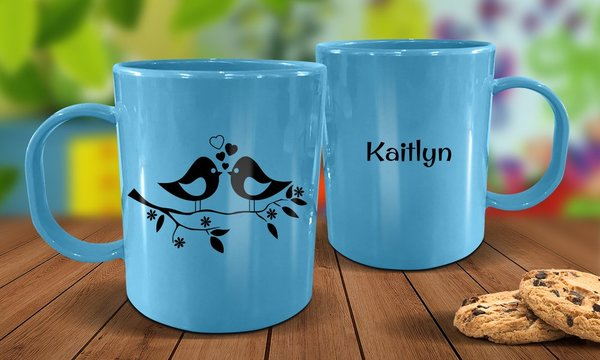 Two Birds Plastic Mug - Blue