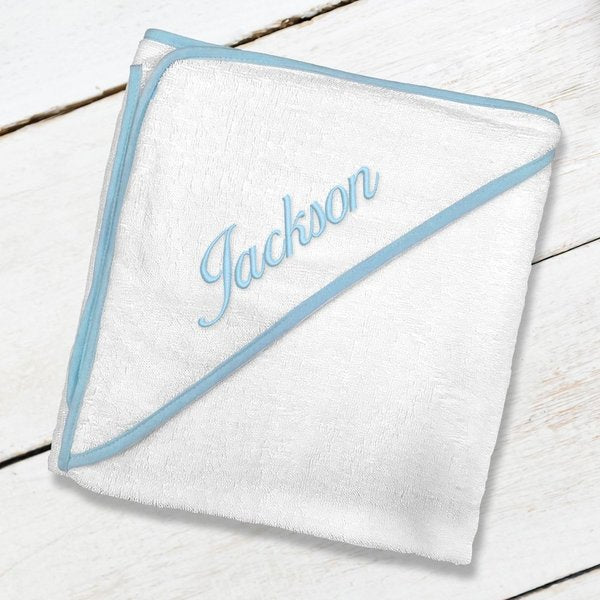 Blue Embroidered Hooded Towel