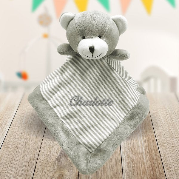 Grey Embroidered Baby Comforter