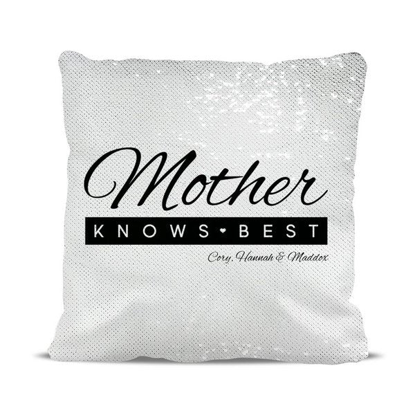 Mother Knows Best Magic Sequin Cushion Cover