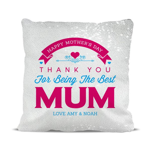 Thank You Mum Magic Sequin Cushion Cover