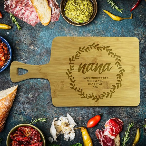 Wreath Rectangle Bamboo Serving Board