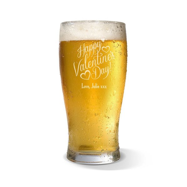 Happy Valentine's Day Standard 285ml Beer Glass