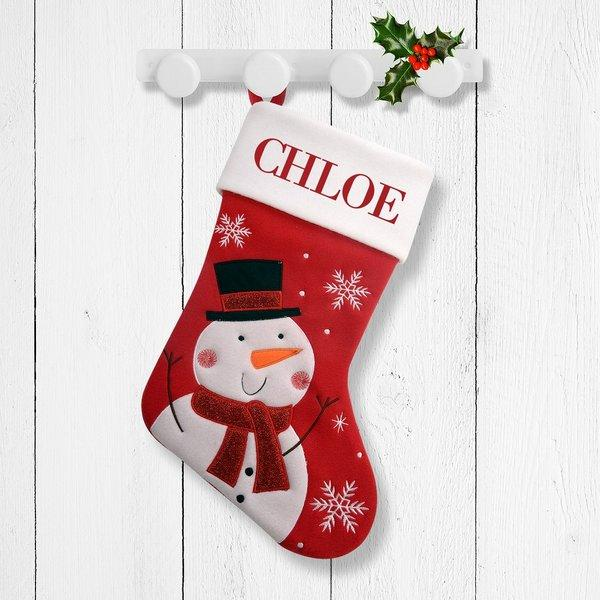 White Snowman Red Santa Stocking
