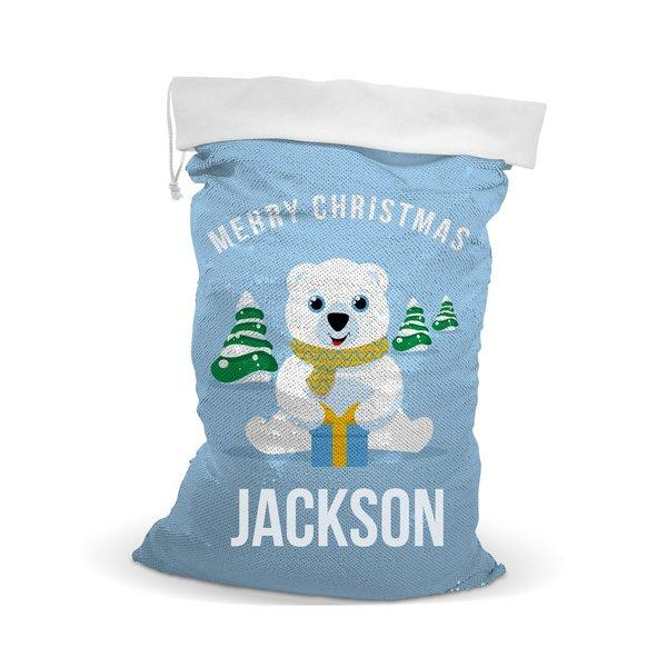 Bear Sequin Santa Sack