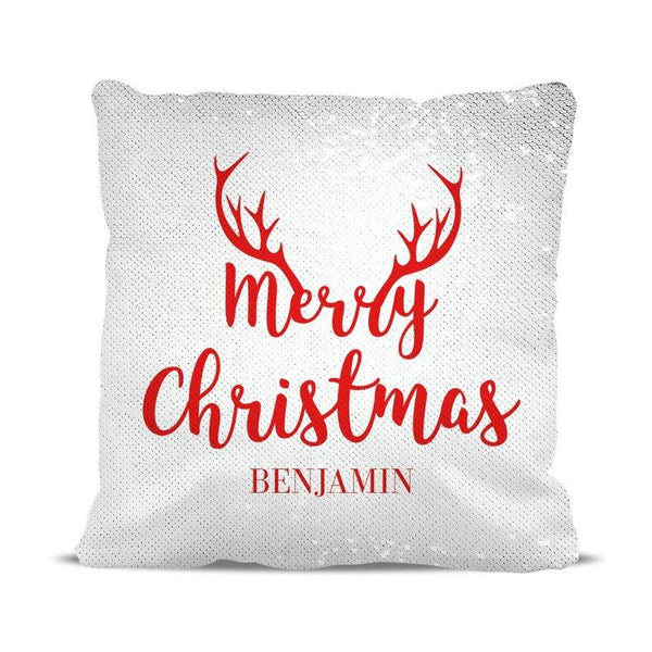 Antler Horn Magic Sequin Cushion Cover