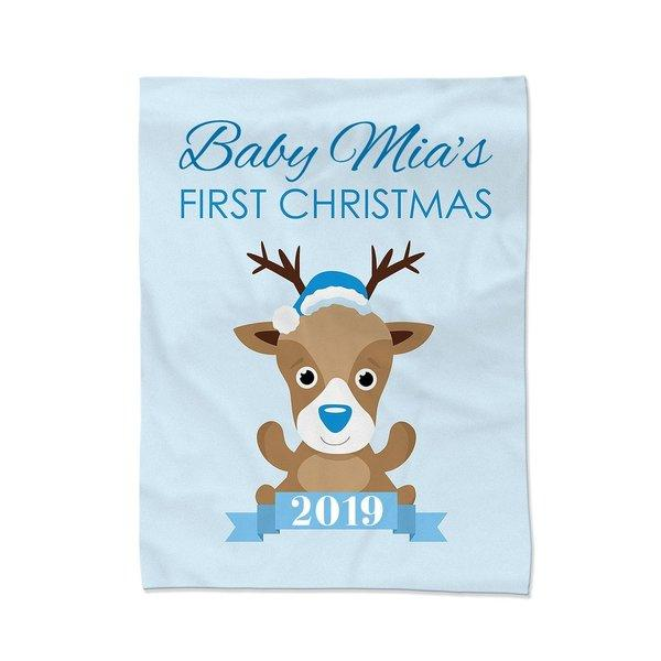 Blue First Christmas Blanket - Large