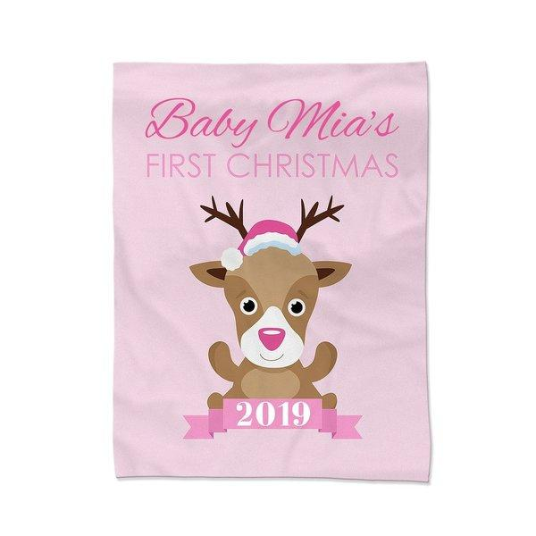Pink First Christmas Blanket - Medium