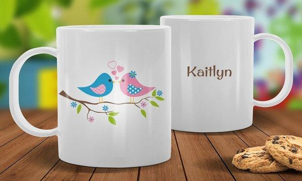 Two Birds White Plastic Mug