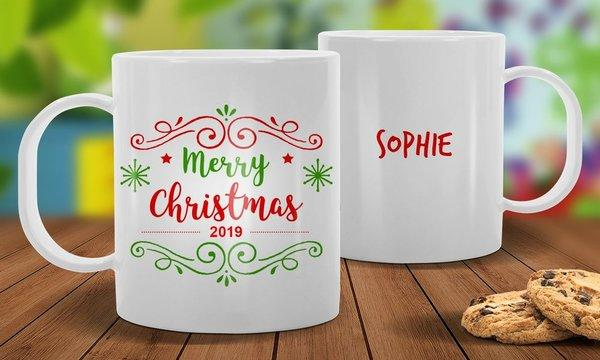 Merry Christmas White Plastic Mug