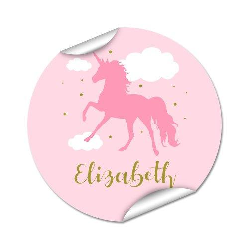 Pink Unicorn Round Labels 45pk
