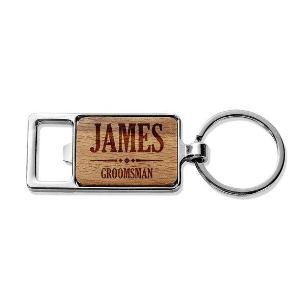Groomsman Rectangle Metal Keyring (Temporary Out of Stock)
