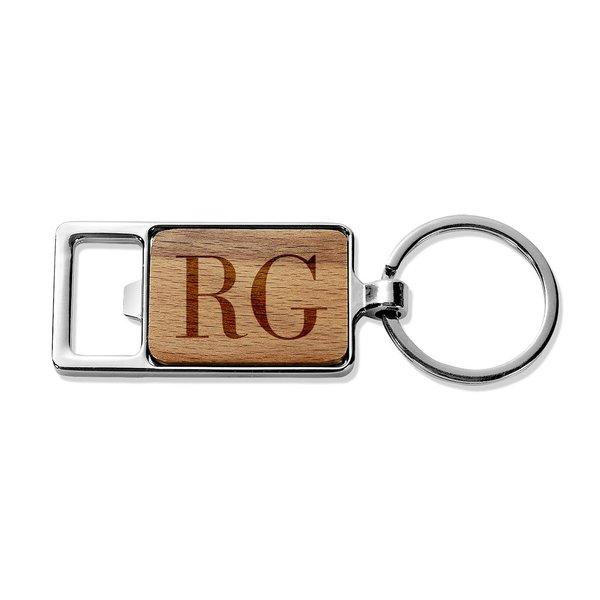 Initials Rectangle Metal Keyring