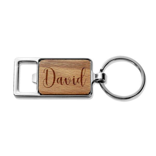 Stylish Name Rectangle Metal Keyring