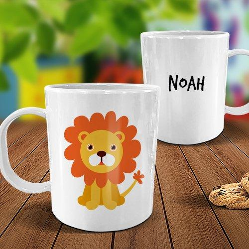 Lion White Plastic Mug