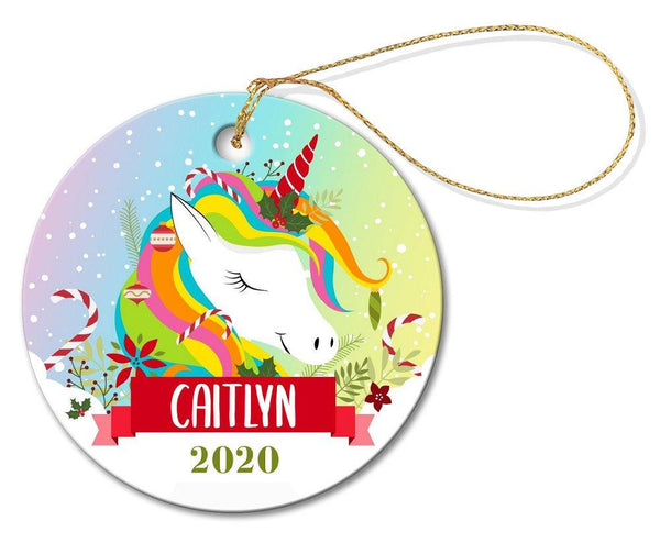 Colourful Unicorn Round Porcelain Ornament