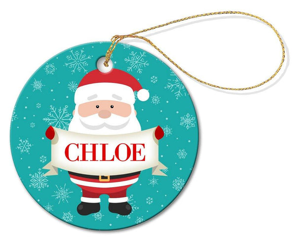 Santa Sign Round Porcelain Ornament