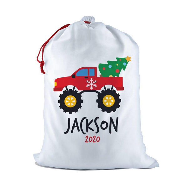 Monster Truck White Santa Sack