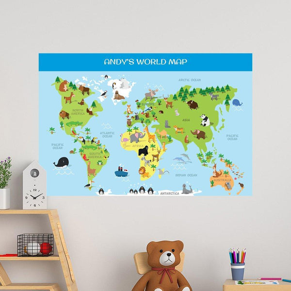 World Map Educational Wall Decal - 40x60cm