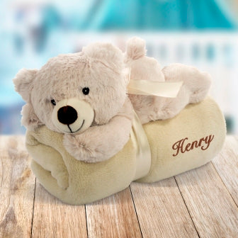 Embroidered Blanket with Toy Bear