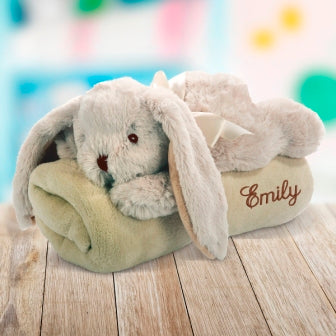 Embroidered Blanket with Toy Rabbit
