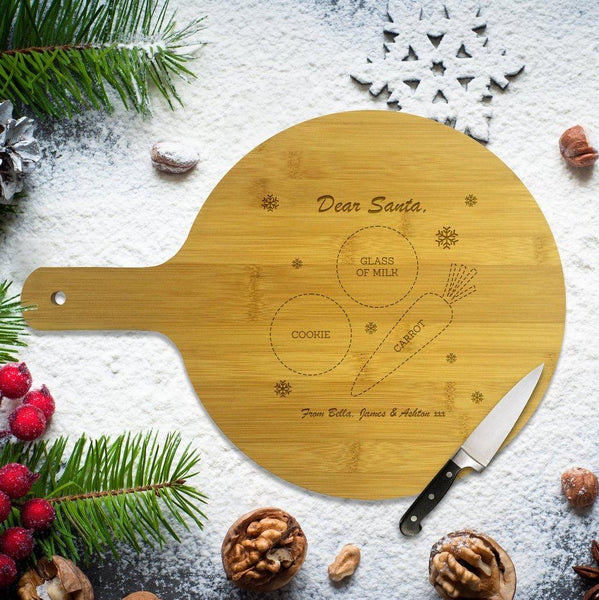 Santa Round Bamboo Serving Board