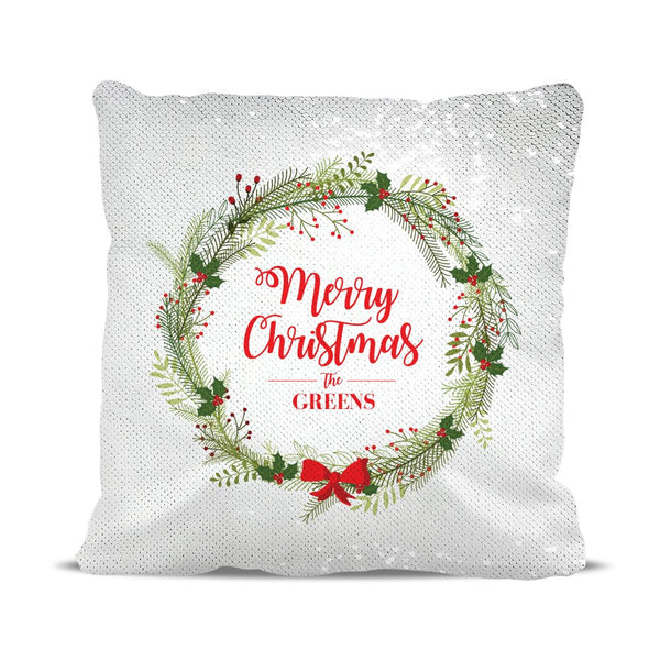 Christmas Wreath Magic Sequin Cushion Cover