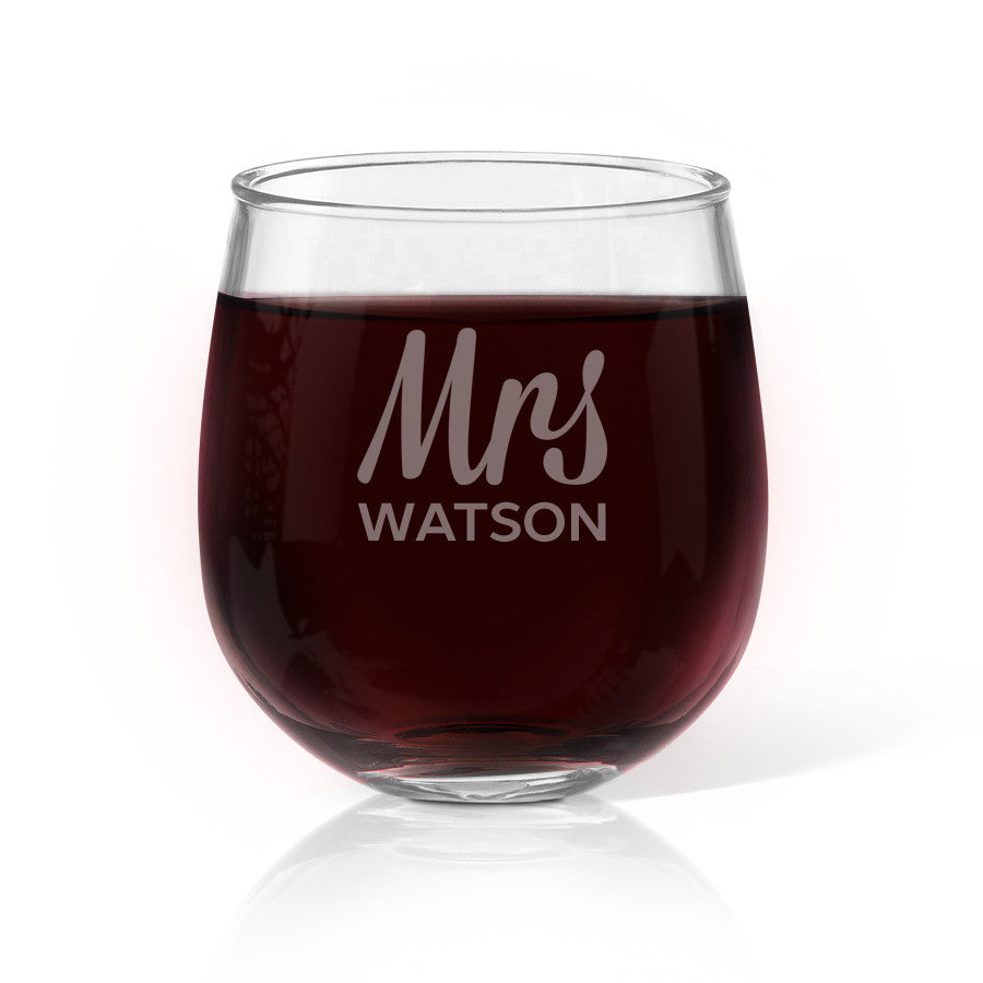 Mrs Design Stemless Wine Glass