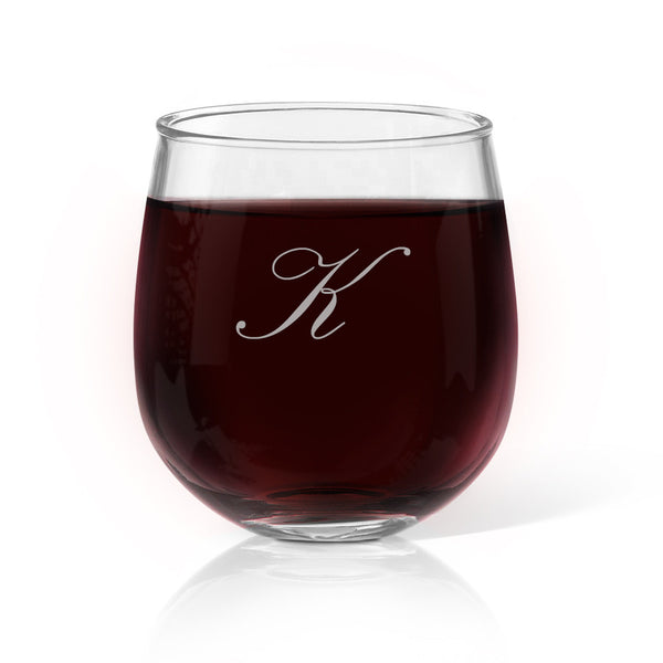 Single Initial Stemless Wine Glass