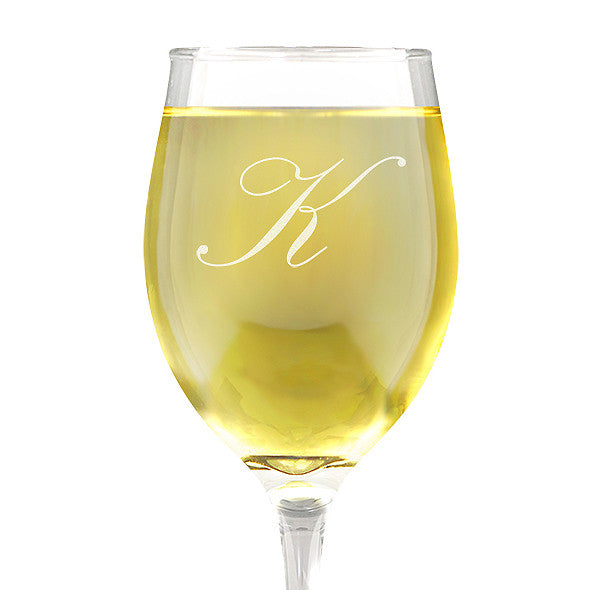 Single Initial Design Wine Glass