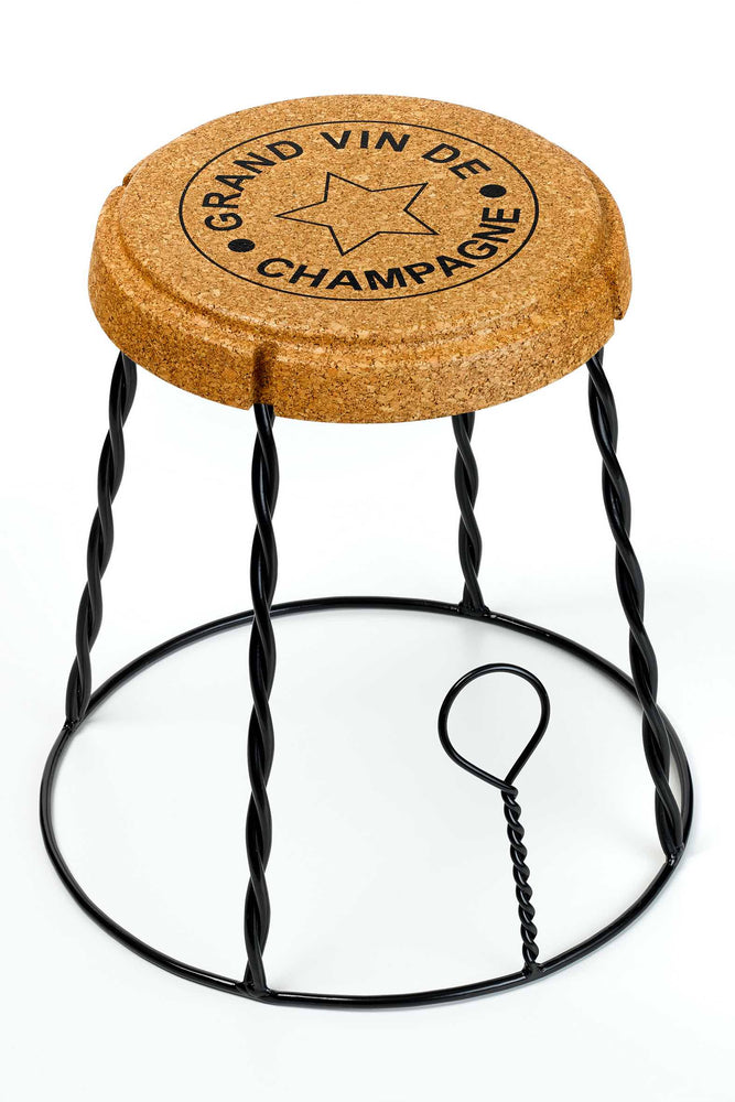 Giant Champagne Cork Wire Cage Muselet Stool/Side Table