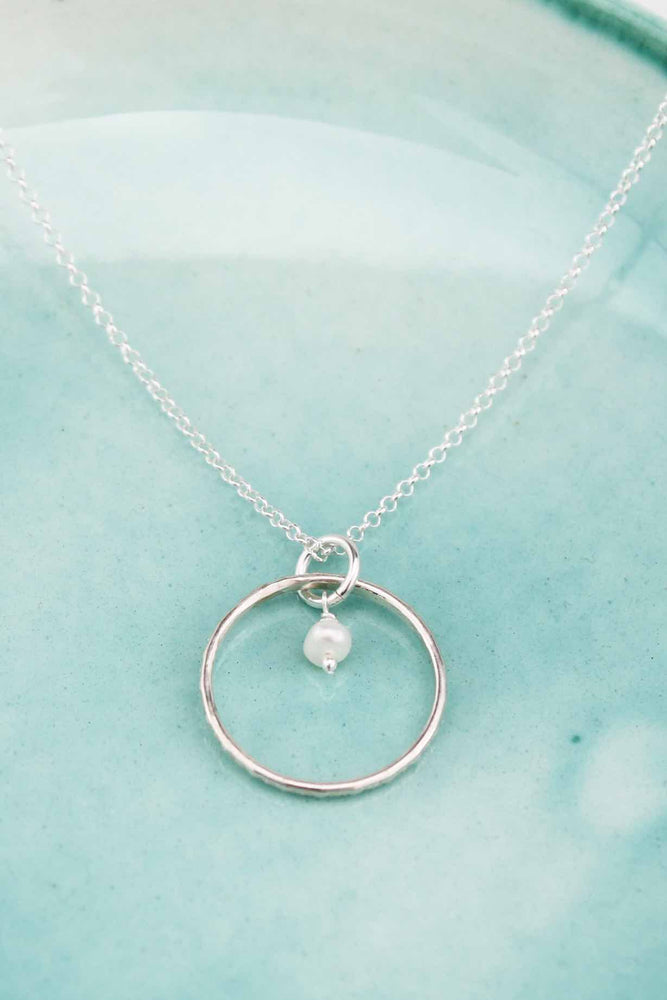 Silver Pendant | Celestial Hoop with Pearl
