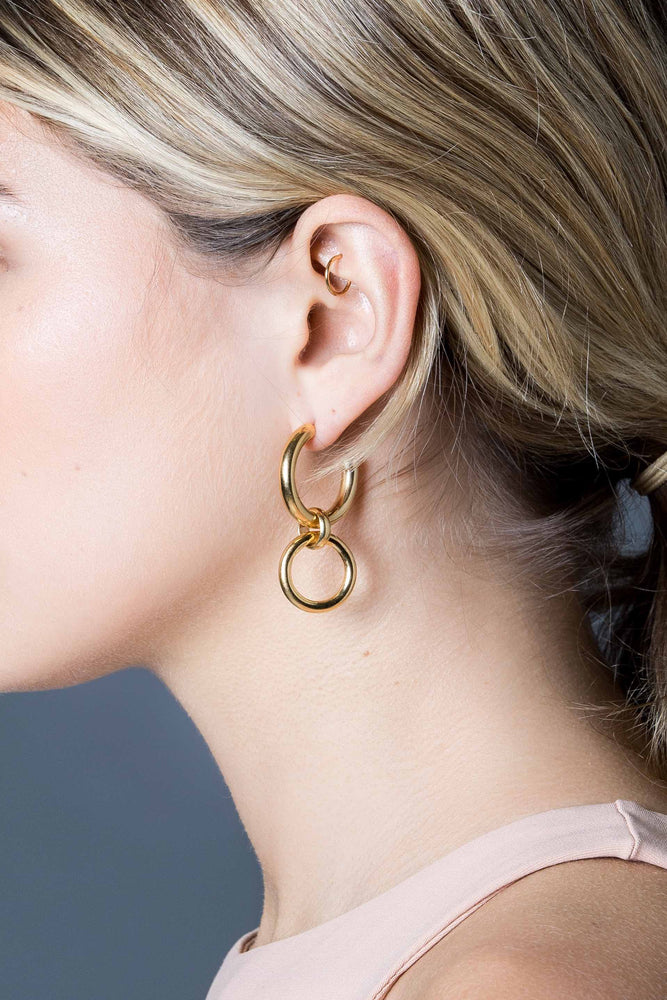 Medium Gold Hoop Eternity Earrings