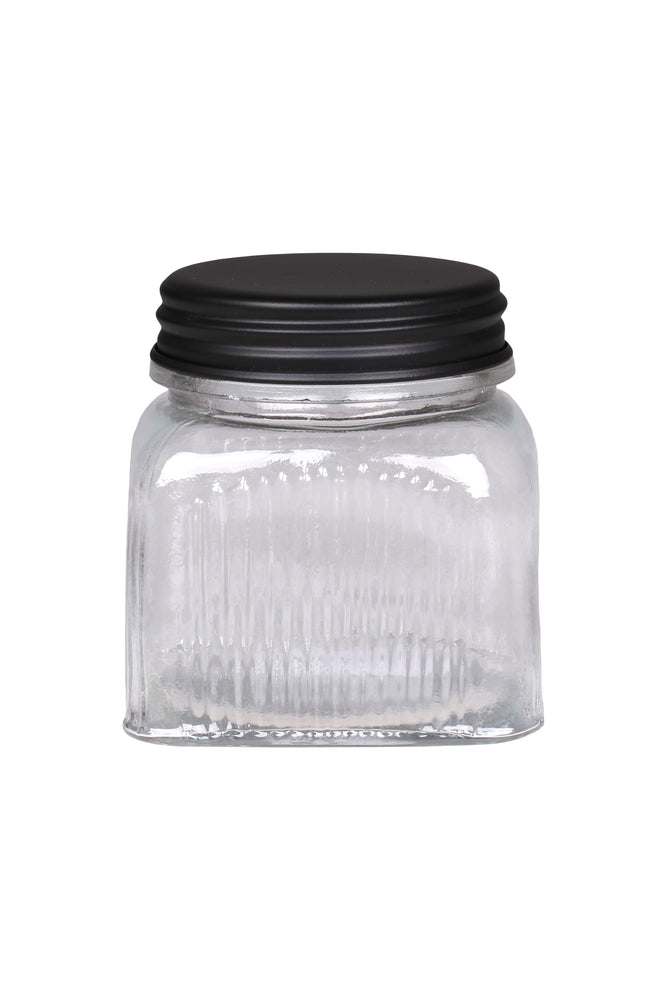 Storage Jar with Narrow Grooves & Black Lid | 11.5 x 13.5 cm