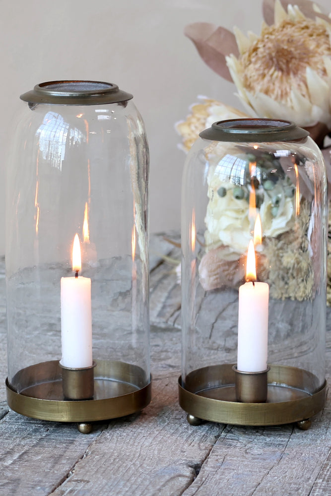Glass Bell with Candlestick | Large